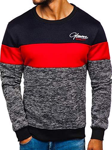 BOLF Herren Sweatshirt Pullover Aufdruck Rundhalsausschnitt Sportlicher Stil J.Style KS1895 Rot XXL [1A1]