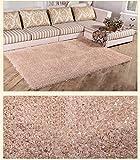WSX Modernes, langes Haar Dickes Teppich Sofa Kaffee Bett Schlafzimmer Bedside Home Teppich (Farbe : Beige, größe : 120 * 170cm)