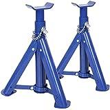 Timbertech Unterstellbock Abstellbock Wagenheber Lastheber Arbeitsbock aus Stahl mit 2 t Tragekapazität im 2er Set in Rot oder Blau