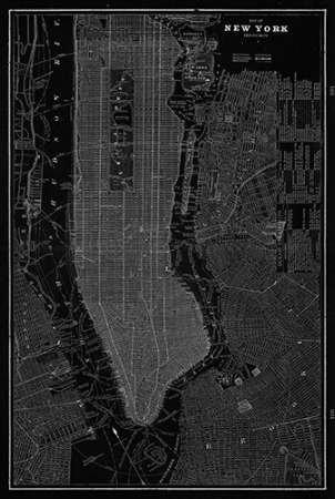 Feeling-at-home-Kunstdruck-New-York-Karte-cm129x87-Poster-fuer-Rahmen