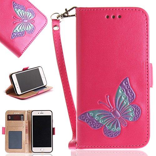 Tasche Hüllen Schutzhülle - case cover echtes Leder en PU Von Hand bemalt Impressum Schmetterling rose für Apple iPhone 7,iPhone 8 (Hand Bemalt Von Apple)