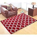 Red Hot Multicolor Velvet Floor Carpet- 5 feet X 7 feet