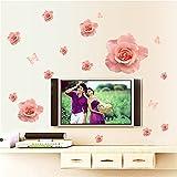 Cinlla® Rosa Rosen-Blumen Entfernbare Vinyl-Wandtattoo Neuheit Wandaufkleber Dekor für Kinder Schlafzimmer Wohnzimmer Haus-Fenster-Glas (XL)