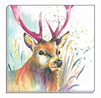 Artistic Animals Colourful Highland Stag Deer Evans Lichfield Canvas Wall Art Picture 40cm from Evans Lichfield