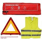 KFZ Erste Hilfe Sicherheitsset 3-teilig: Verbandstasche/Warndreieck / Warnweste DIN 13164 Verbandskasten 620147 rot