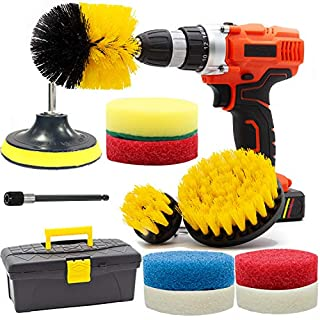 Drill Brush and Scrub Pads, GOH DODD 13 PCS Yellow Power Scrubber Cleaning Kit with Long Reach Attachment in Tool Box For Bathroom Shower Scrubbing, Carpet Cleaning, Grout Scrubbing, and Tile Cleaning