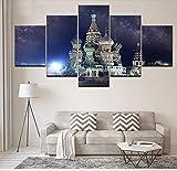 GLORIOUS.YY Leinwandbilder Märchenschloss Wandbild Vlies Leinwand Bild Wandbilder Wohnzimmer Deko Kunstdrucke 5 Teilig - Fertig Zum Aufhängen 200X100Cm