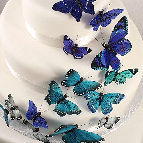 Tortendekoration | 24 Schmetterlinge blau, türkis