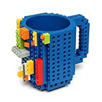 AnySell DIY Building Blocks Cup Build-on Brick Mug Coffee Cup DIY Creative Building Blocks Coffee Tea Beverage Drinking Funny Gift Blue