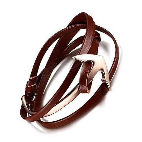 Acier inoxydable plaqué or Long Sailor Ancre Bracelet avec enrouleur de marron cuir véritable Chaîne