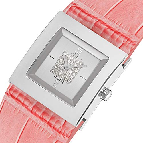 Moog Paris Harmony Women's Watch with Silver Dial, Pink Genuine Leather Strap & Swarovski Elements - M41351-104