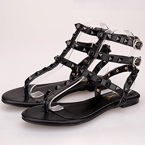 Oasap Women's Ankle Strap Rome Rivet Flat Thong Sandals Black