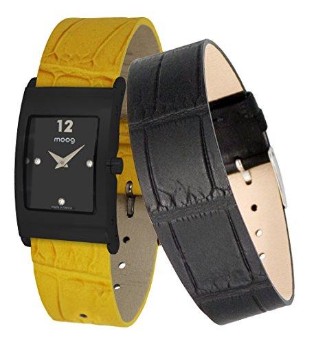 Moog Paris Dome Women's Watch with Black Dial, Yellow Genuine Leather Strap & Swarovski Elements - M41662-006