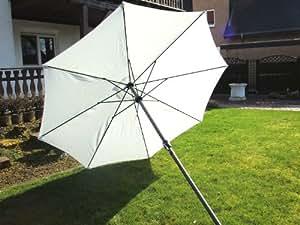 Aluminium Sonnenschirm mit Kurbel 300cm / weiss