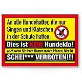 Hundehalter - Singen/Klatschen / Kein Hundeklo, Kunststoff Schild Hunde kacken verboten - Verbotsschild/Hundeverbotsschild, Verbot Hundeklo/Hundekot / Hundehaufen/Hundekacke