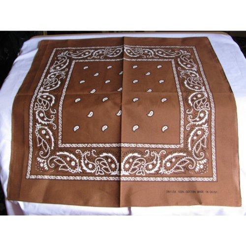 Bandana 100% coton, 55 x 55 cm, motif cachemire bleu royal en 5 couleurs, brun moyen, vert olive, vert anis et beige. Article neuf. Utile tous les jours Porter. Bikers etc.. Taille M (Marron)