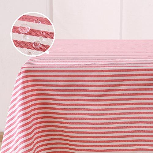Deconovo Tischdecke Wasserabweisend Tischwäsche Lotuseffekt Tischtuch 137x274 cm Rot