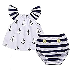 Infant Baby Girls Off Should Anchor Tops+Striped Briefs Outfits Set Sunsuit Clothes (12-24M