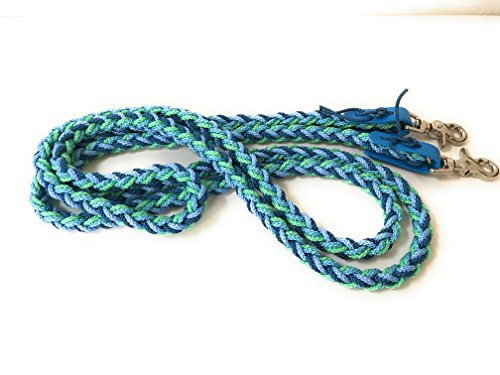 VIVA NATURE Handgeflochtene Zügel \\ bunt \\ englisch ca 2,80m Flechtzügel \\ Flechleine \\ Pferd \\Reiten (blau türkis mint)
