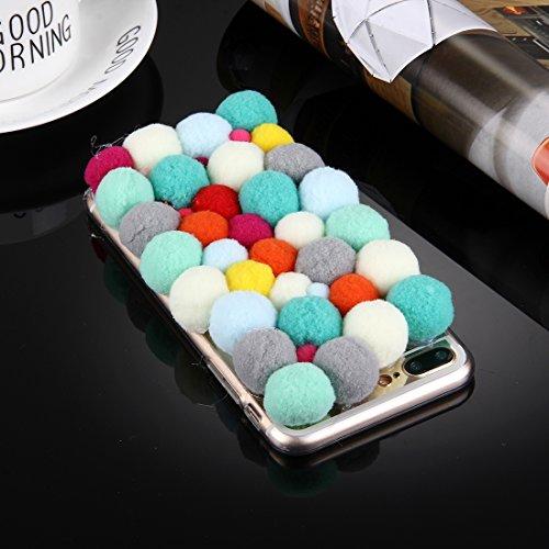 YAN Für iPhone 7 Plus 3D Pelz Bälle Muster TPU Schutzhülle ( Color : White ) Dark Red