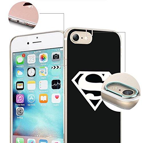 finoo | iPhone 8 Weiche flexible Silikon-Handy-Hülle | Transparente TPU Cover Schale mit Motiv | Tasche Case Etui mit Ultra Slim Rundum-schutz |Flash logo Superman logo black