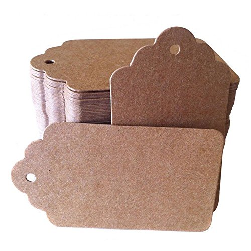 Elandy Christmas Gift Tags Brown Kraft Paper Hang Tags Labels with Free Cut Strings for Gifts, Crafts amp; Price Tags for Wine, Decor, Weddings Scallop Shape (50pcs)
