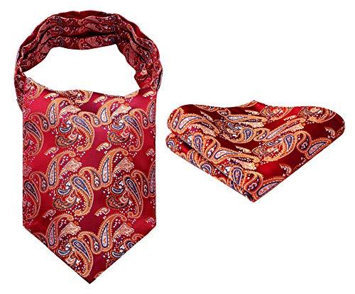 Hisdern Herren Floral Paisley Jacquard gewebt Ascot Set Orange Rot