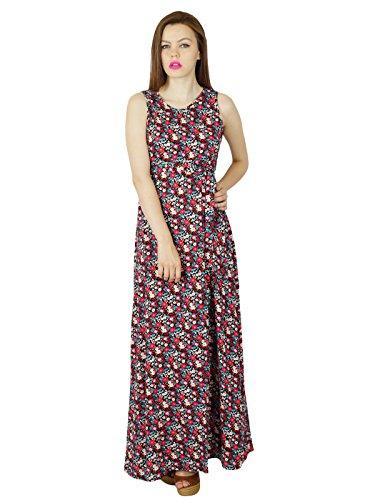 Bimba Longue Robe Maxi Coton Multicolore Robe De Jour Chic Vêtements D'Été Des Femmes Floral Multicolore