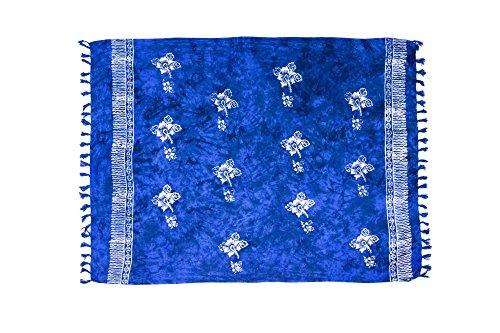 ManuMar Damen Sarong | Pareo Strandtuch | Leichtes Wickeltuch in dunkel-blau mit Hibiscus-Motiv mit Fransen-Quasten 115x155 cm