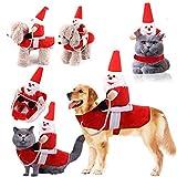 LIGGZ Weihnachtshundekostüme, Weihnachtsmann, der auf Hundekatzenhaustier, justierbares interessantes Hunderitterkostüm reitet, gepasst für Weihnachten, Halloween, Paraden, Fotoaufnahme