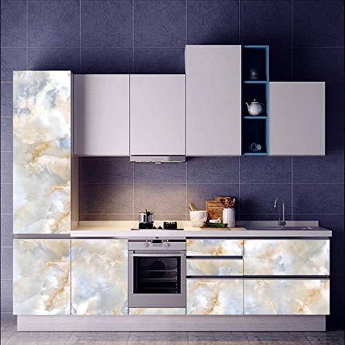 Quaan 3D Jahrgang Leder strukturiert Tapete PVC Wandgemälde Realistisch Aussehen Wasserdicht Schlafzimmer Dekor DIY Mauer Aufkleber Zuhause Küche Möbel Spiegel Windows Tür Gemälde (60x180cm, B)