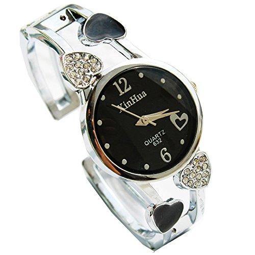 ufengke® filles strass coeur bracelet de bande en acier dames montre à bracelet montre à bracelet cadran rond robe-noire