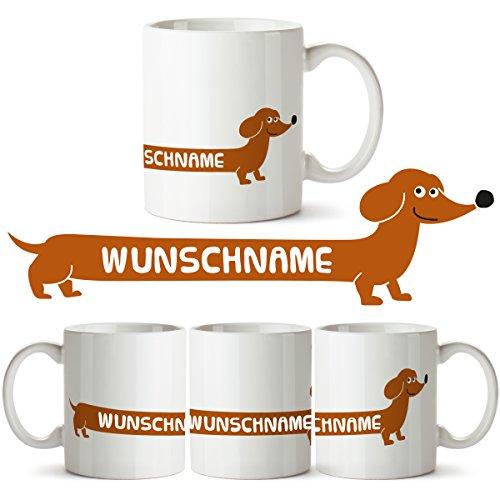 """Gestalte Deine Dackel Tasse mit """"Wunschnamen"""" individuell personalisiert Becher Tasse Kaffeebecher Namenstasse Hund Teckel Geschenk"""