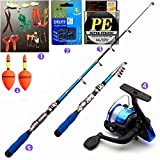 NTTEAM 5 Packs 2.3m Mini Telescopic Portable Hand Hard Carbon Fiber Sea Fishing