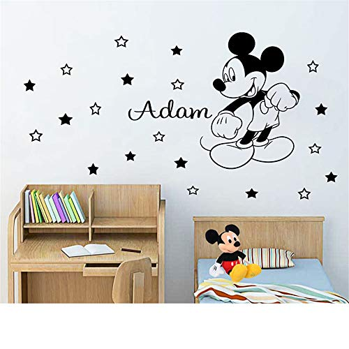 Wandtattoo Kinderzimmer Mickey Minnie Mouse Wall Art Decal Sticker Vinyl Mickey Mouse Wall Sticker Personalized Name Name Boy Decorate For Kids Room Art Decor - Boy Disney Wandtattoos