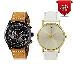 Talgo Curren Collection Festive Season Special Black Round Dial Brown Leather Strap Party Wedding | Casual Watch | Formal Watch | Fashion Wrist Watch For Boys and Men - Curren M-8152 | Buy 1 Get 1 Single Diamond White Watch for Women absolutely Free | Jumbo Offer