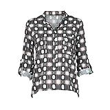 Damen Tops Bluse Langarm SUNNSEAN Frauen Geometrischer Druck Bluse Lose Shirt Lange Ärmel V-Ausschnitt T-Shirt Oberteile Tasche Langarmshirts Tops Tutopsn
