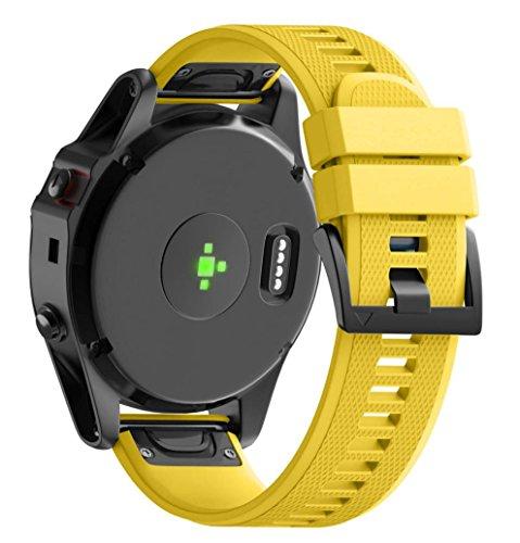 SHOBDW Garmin Fenix 5X Armband, Ersatz Silicagel Soft Quick Release Kit Band Strap Für Garmin Fenix 5X GPS Uhr (Gelb, 26MM)