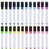 24 Stücke Magnetische Trocken Löschen Marker Whiteboard Löschen Marker mit Radiergummis für Schule und Büro, 8 Verschiedene Farben (Weiße Kappe)