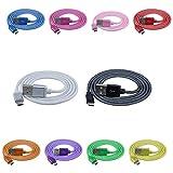OmniWire® 10er-Pack USB-Kabel 1 Meter / 100 cm mit Micro-B Stecker metallummantelt in den Farben Schwarz, Weiß, Grün, Gelb, Orange, Rot, Lila, Blau, Pink und Rosa