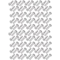 sourcing map 100 piezas Sujetador remache sólido medias cabeza redonda M4 x 16 mm de aluminio tono de plata
