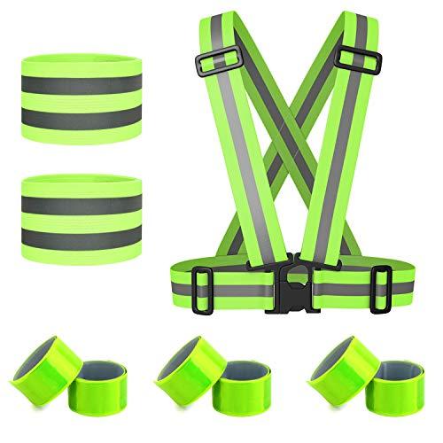 HOGAR AMO Running Reflektorweste Set Sicherheit West/Armband Warnweste Reflektorband 6X Schnapparmband für Jogging Laufen Fahrrad Motorrad