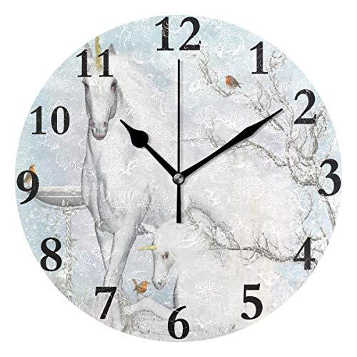 Hectwya Wall Clock Fawn Pug On Grey Fur Dark Background Silent Non Ticking Decorative Round Digital Clocks Indoor Outdoor -