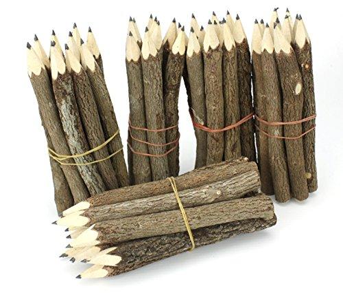 Farang Bleistifte aus natürlichen Zweigen, klein, aus Thailand, Mehrstückpackung, 50 Stück, Schwarz