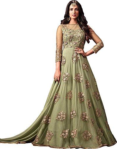 Nilkanth Enterprise Green Women's Designer Net with Embroidered Work Salwar Suit With...