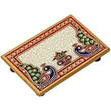 Handicrafts Paradise Peacock and Kalash Designed Rectangle Shape Marble Pooja Chowki (15.3 cm x 10.2 cm x 2.55 cm),Multicolour