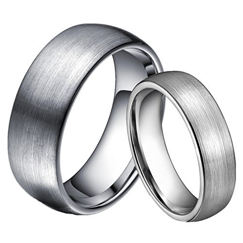 6mm/8mm Wolframcarbid Ringe Gebürstet Trauringe Verlobungsringe