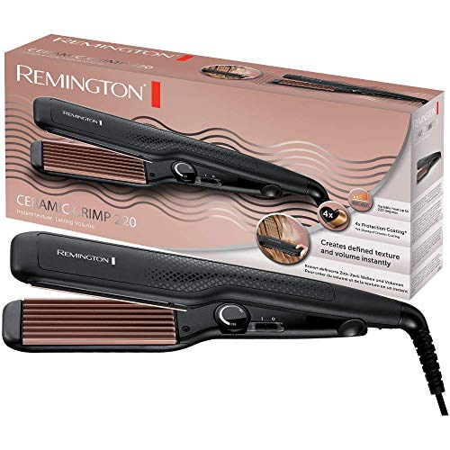 Remington Ceramic Crimp S3580 - Plancha de Pelo, Cerámica Avanzada, Placas Anchas, Crea Textura y Volumen...