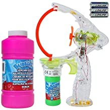 TE Trend Pistola de burbujas pistola con LED y 450 ml Pompas de jabón Repuesto Líquido para Relleno - XXL Bubble Pistola