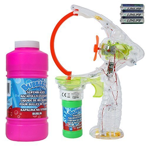 TE Trend XXL Seifenblasenpistole für Mega Seifenblasen mit LED, Ventilator und 450 ml Seifenblasen Ersatz Flüssigkeit zum Nachfüllen